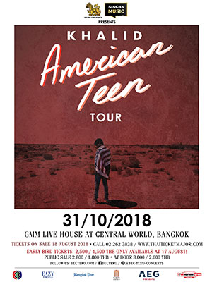 Singha Music Presents Khalid American Teen Tour 2018 Bangkok