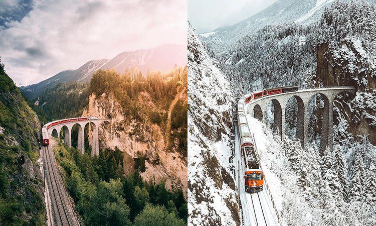 Landwasser Viaduct สะพานกลางหุบเขา บนเส้นทางรถไฟสาย Glacier Express