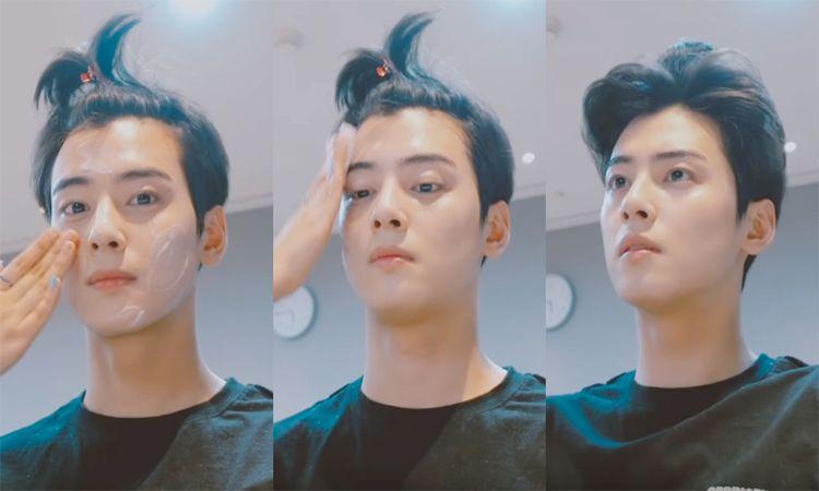 """ใบหน้าเทพบุตร """"ชาอึนอู"""" เปิดคลิปหน้าสดโนเมคอัพทำแฟนคลับใจสั่นรัวๆ"""