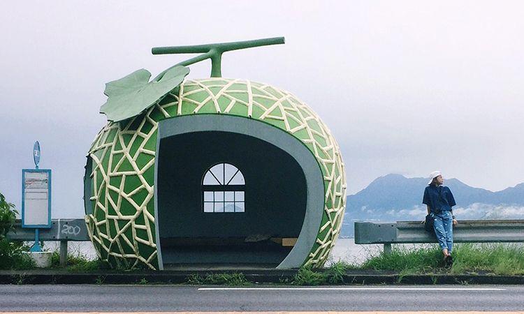ป้ายรถเมล์ผลไม้ น่ารักน่านั่ง ที่เมือง Konagai