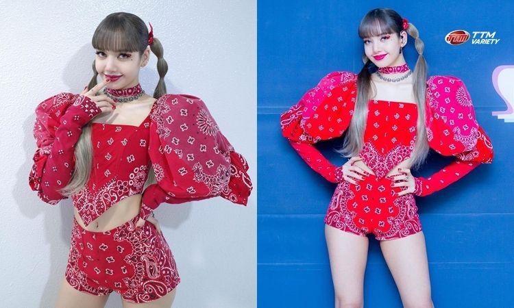 """แฟนคลับชาวไทยไม่ตัดชุดเก้อ เมื่อ """"ลิซ่า"""" แต่งชุดสีแดงลายคุ้นตาโชว์บนสเตจรายการเพลง"""