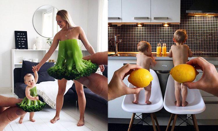หรือกลับมาอีกครั้ง?! ไอเดียถ่ายภาพครอบครัวสุดคิ้วท์ ใช้ผัก-ผลไม้เป็นเสื้อผ้า